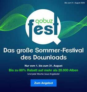 Sommerpreise bei QOBUZ Downloads bis 31.8.2020